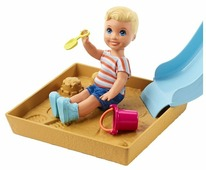 Кукла Barbie Скиппер Игра с малышом Блондин-мальчик и голубая горка, FXG96