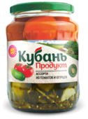 Ассорти из томатов и огурцов Кубань продукт стеклянная банка 680 г