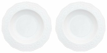 Elan gallery Набор суповых тарелок Белый узор 22 см 2 шт