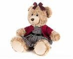 Мягкая игрушка Maxitoys Мишка Моника в красном жакете и клетчатом платье 20 см