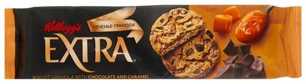 Печенье Kellogg's Extra гранола с шоколадом и карамелью, 150 г
