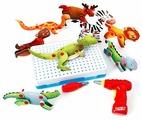 BeeZee Toys Развивающая игра мозаика Супер зверята с шуруповертом (DNS-027)