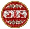 Созвездие Набор для вышивания крестом на основе Новогодняя игрушка Скандинавский узор 8,5 х 8,5 см (ИК-011)