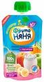 Пюре ФрутоНяня яблоко, груша, банан, персик с йогуртом (с 6 месяцев) 90 г, 1 шт