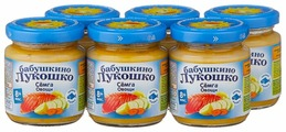 Пюре Бабушкино Лукошко семга-овощи (с 8 месяцев) 100 г, 6 шт.