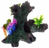 Грот BARBUS Коряга с растением Decor 038 34.5x25.5x17 см