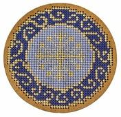 Созвездие Набор для вышивания крестом на основе Новогодняя игрушка Золотая роспись 8,5 х 8,5 см (ИК-009)