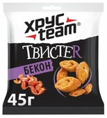 ХРУСteam сухарики пшеничные Твистер Бекон, 45 г