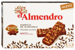 Ореховый батончик El Almendro ореховый из миндаля и фундука с молочным шоколадом 156 г