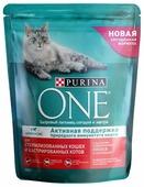 Корм для стерилизованных кошек Purina ONE для профилактики МКБ, с лососем и с пшеницей