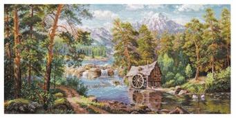 Алиса Набор для вышивания крестиком Пейзаж с мельницей 53 х 26 см (3-17)