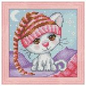 Алмазная живопись Набор алмазной вышивки Сонный котенок (АЖ-1571) 15х15 см