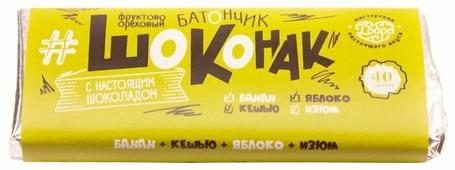 Фруктовый батончик Мастерская шоколада Добро Шоконак без сахара с бананом, кешью, яблоком и изюмом, 40 г