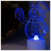 Фигура светодиодная NEON-NIGHT Снеговик с подарком 2D 10 см RGB (501-054)