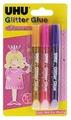 UHU Клеящие блестки для декорирования Glitter Glue Princess (3 шт.)
