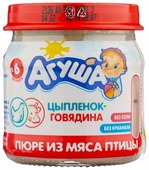 Пюре Агуша цыпленок-говядина (с 6 месяцев) 80 г, 1 шт
