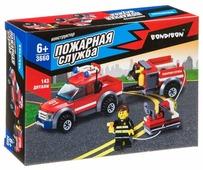 Конструктор BONDIBON Пожарная служба ВВ3660 Машина с прицепом