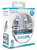 Лампа галогенная автомобильная PHILIPS WhiteVision H4 2 штуки (12342WHVSM)
