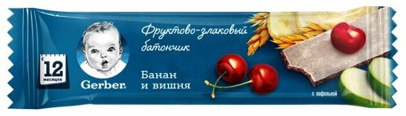 Батончик Gerber фруктово-злаковый с вишней и бананом (с 1-го года)