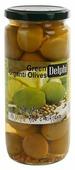 DELPHI Оливки зеленые с косточкой маринованные с лимоном и кориандром, 480 г