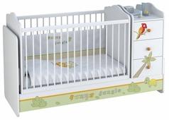 Кроватка Polini Basic Джунгли с комодом (трансформер)