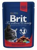 Корм для кошек Brit Premium беззерновой, с говядиной и с горошком 100 г (кусочки в соусе)