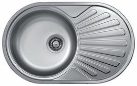 Врезная кухонная мойка Kromevye Rondo EC259 77х48см нержавеющая сталь