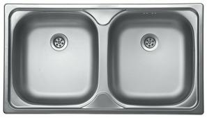 Врезная кухонная мойка Kromevye Classic EC189 78х43.5см нержавеющая сталь