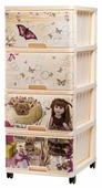 Бельевой комод Dunya Plastik Пластиковый с рисунком 4 ящика
