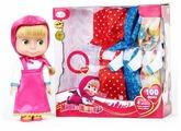 Интерактивная кукла Карапуз Маша и медведь с гардеробом 25 см 83035