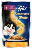 Корм для кошек Felix Sensations с уткой и со шпинатом (кусочки в желе)