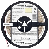 Светодиодная лента Navigator NLS-3528WW120-9.6-IP65-12V R5 5 м