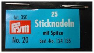 Набор игл ручных Prym 124135 для вышивки 1 х 43 мм N20, 25 шт.