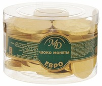 Фигурный шоколад Монетный двор Шоко монеты Евро, молочный шоколад, банка