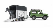 Внедорожник Bruder Land Rover Defender с прицепом-коневозкой и лошадью (02-592) 61 см