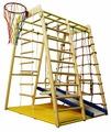 Спортивно-игровой комплекс Вертикаль Веселый малыш WOOD комплектация горкой с мягкими бортиками