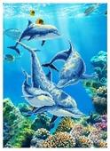 Цветной Набор алмазной вышивки Дельфин (LEP007) 30x40 см