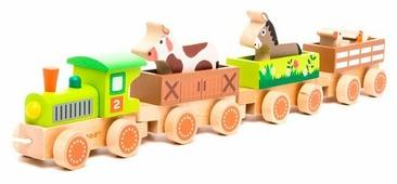 Каталка-игрушка Janod Поезд ферма с животными (J08536)