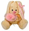 Мягкая игрушка Зайка Ми с розовым цветком 15 см