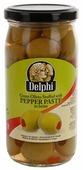 DELPHI Оливки фаршированные пастой из перца в рассоле, стеклянная банка 350 г