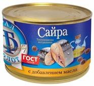 Трал Флот сайра тихоокеанская натуральная с добавлением масла, 240 г