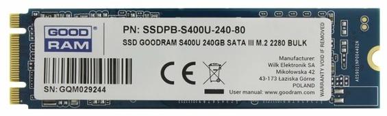 Твердотельный накопитель GoodRAM SSDPB-S400U-240-80