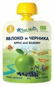 Пюре Fleur Alpine яблоко и черника (с 5 месяцев) мягкая упаковка 90 г, 1 шт.