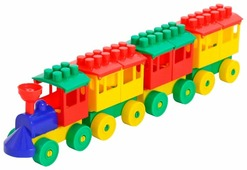 Конструктор Полесье Юный путешественник 2051 Паровоз с тремя вагонами