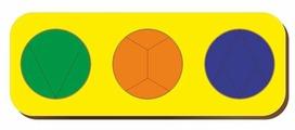 Рамка-вкладыш Woodland Дроби 3 круга уровень 3 (061105), 12 дет.