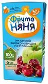 Сок ФрутоНяня из яблок и вишни осветленный, с 5 месяцев