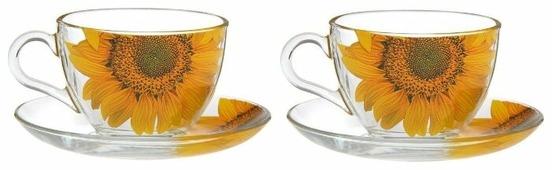 ДЕКОСТЕК Набор чайных пар Живая природа. Подсолнух 200 мл