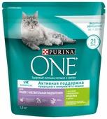Корм для кошек Purina ONE при чувствительном пищеварении, с индейкой и с рисом