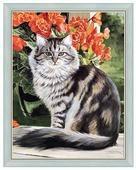 Алмазная вышивка алмазная живопись Кот в саду 40х53 см (АЖ-1101)