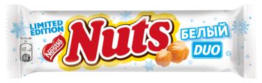 Батончик Nuts Duo с белым шоколадом, 60 г
